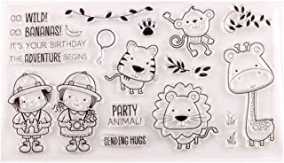 7.5 by 3.9 Inches Boy Cats Monkey Giraffe Leaves Stamps and Die Set for Scrapbooking Card Making Christmas Stamps and Dies (T1285)