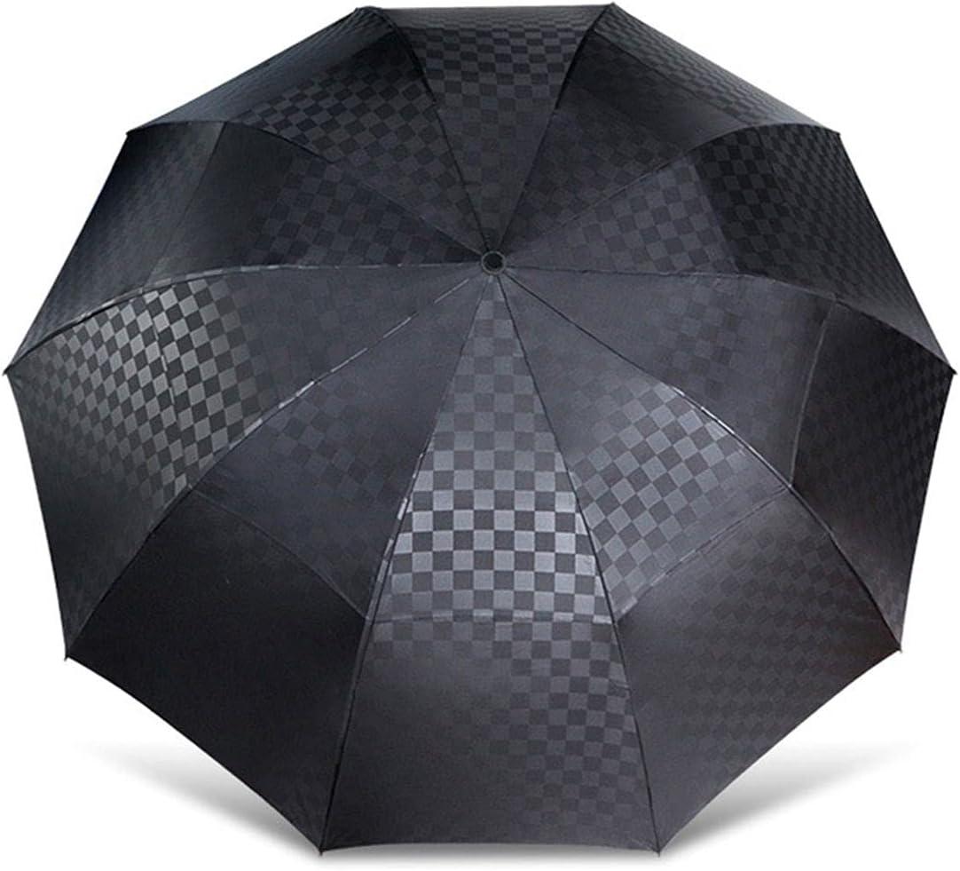 PJRYC 144cm Double Layer National uniform free shipping Large Umbrella Limited time sale Women Grid Tra Rain Dark