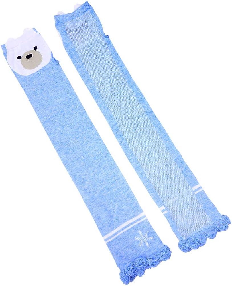 Women Long Sleeve Fingerless Sunblock Gloves UV Protection Mittens Bear