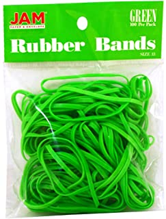 JAM PAPER Colorful Rubber Bands - Size 33 - Green Rubberbands - 100/Pack