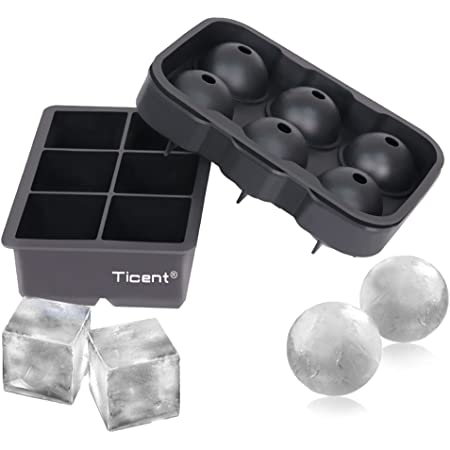 Amazon Com Ticent Ice Cube Trays Set Of 2 Silicone Sphere Whiskey Ice Ball Maker With Lids Large Square Ice Cube Molds For Cocktails Bourbon Reusable Bpa Free Kitchen