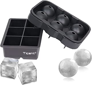 Ticent Ice Cube Trays (Set of 2), Silicone Sphere Whiskey Ice Ball Maker with Lids & Large Square Ice Cube Molds for Cocktails & Bourbon - Reusable & BPA Free