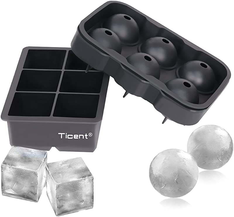 Ticent Ice Cube Trays Set Of 2 Silicone Sphere Whiskey Ice Ball Maker With Lids Large Square Ice Cube Molds For Cocktails Bourbon Reusable BPA Free