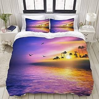 "Mokale Bedding Duvet Cover 3 Piece Set - Hawaiian Seaside Beautiful Background - Decorative Hotel Dorm Comforter Cover with 2 Pollow Shams - Full 80""X90"""