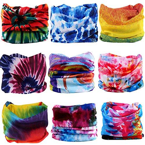 KALILY 12pcs/9pcs/6pcs Headband Bandana - Face Mask Headwear Neck Gaiter Shield Scarf - Tie Dye