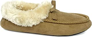 Women's Moccasin Slipper Faux Fur Lined Suede House Shoe with Indoor Outdoor Rubber Sole