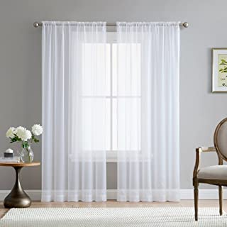 HLC.ME White Sheer Voile Window Treatment Rod Pocket Curtain Panels for Kitchen, Bedroom and Living Room (54 x 84 inches Long, Set of 2)