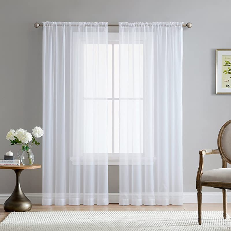HLC ME White Sheer Voile Window Treatment Rod Pocket Curtain Panels For Kitchen Bedroom And Living Room 54 X 84 Inches Long Set Of 2