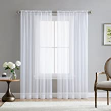 HLC.ME White Sheer Voile Extra Long Window Treatment Rod Pocket Curtain Panels for Bedroom and Living Room (54 x 108 inches Long, Set of 2)