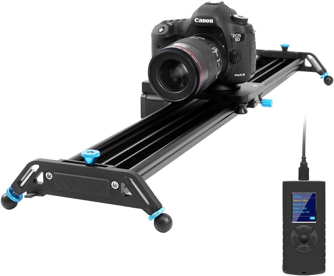 GVM - Slider de cámara motorizada con raíles de 80 cm, aleación de aluminio, con grabación de seguimiento, grabación panorámica de 120° y fotografía de lapso de tiempo para cámaras DSLR