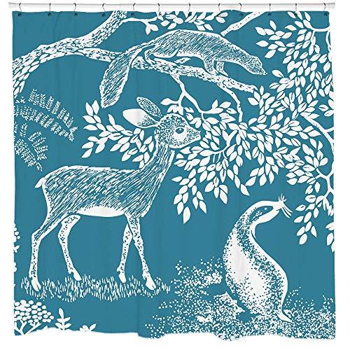 Ad4ssdu4 REH Duschvorhang Woodland Art Natur Muster Baum Kunst Wald Design Hirsch Kunst Blau Stoff Wasserdicht