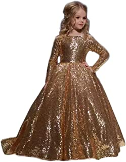 Ghdress Gold Sequins Pageant Dresses for Girls Long Sleeves Kids Prom Flower Girls Ball Gowns 09