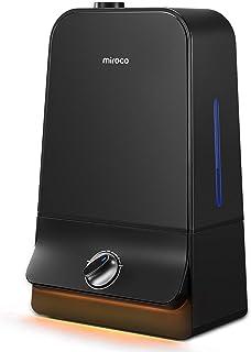 رطوبت خنک کننده فوق العاده اولتراسونیک Miroco با مخزن 6L آب ، 26dB فوق العاده آرام ، ورودی 90 میلی متر آب ، نور شب ، مه قابل تنظیم ، خاموش کردن خودکار برای دفتر خانه 20-60 ساعت