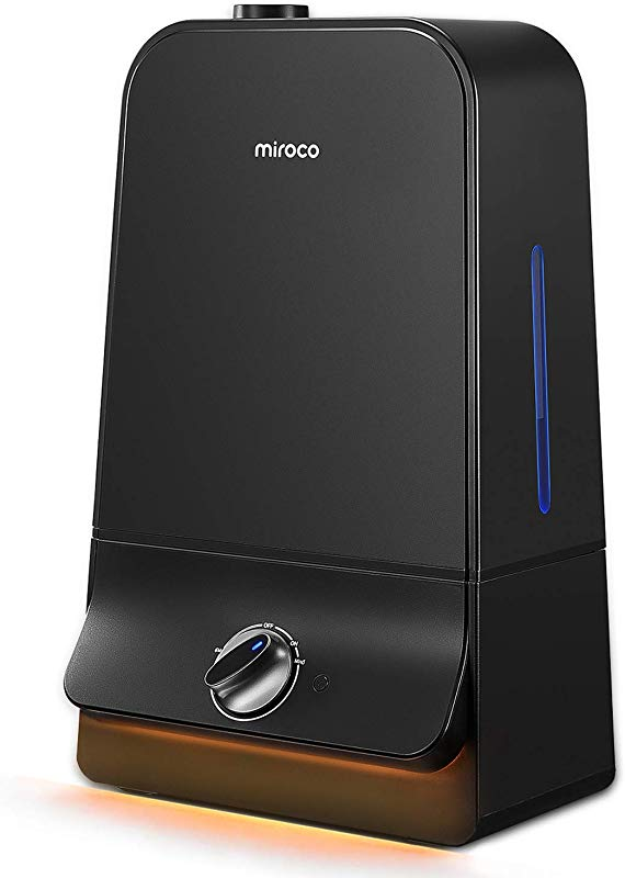 Miroco Ultrasonic Cool Mist Humidifier With 6L Water Tank 26dB Ultra Quiet 90mm Water Inlet Night Light Adjustable Mist Automatic Shut Off For Home Office 20 60 Hours