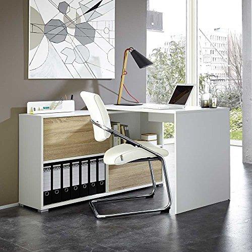 Pharao24 Büro Schreibtisch mit Regalteil 120 cm breit