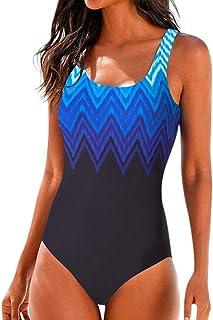 Dainzuy - Traje de baño para Mujer, Cintura Alta, Color Degradado, Monokini Acolchado, Conjunto de Bikini con Push up