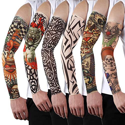 Butterme 6 Pcs Set Fake Temporary Tattoo Sleeves Novelty Body Art Arm Stockings Slip Accessories Tiger, Skull, Tribal Pattern Etc.