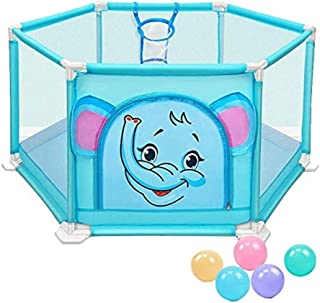 Playpen Portable 6-Panel Baby Play Fence with Shooting and 5 Balls, Anti-roll Plastic Playground, Suitable for Toddlers, I...