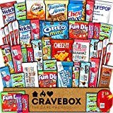 CraveBox Care Package (45 Count) Snacks Food Cookies Chocolate Bar Chips Candy Ultimate Variety Gift Box Pack Assortment Basket Bundle Mix Bulk Sampler Treats College Students Final Exam Office Summer