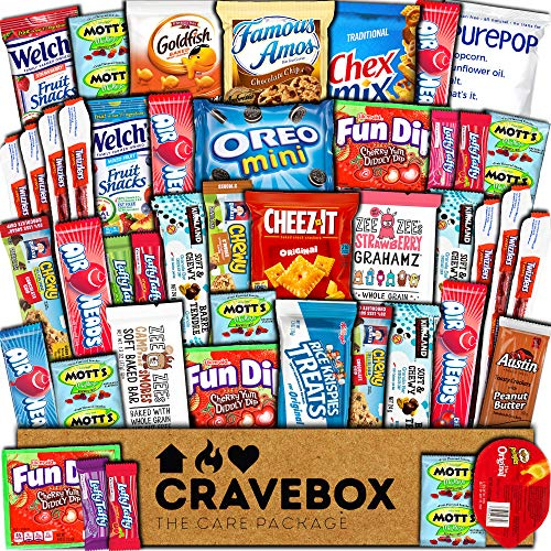 CraveBox Care Package (45 Count) Snacks Food Cookies Chocolate Bar Chips Candy Ultimate Variety Gift...