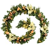 WeRChristmas Pre-Lit Decorated Garland Illuminated with 40 Warm White LED Lights, Copper/Gold, 9 feet