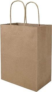 100 Pack 8x4.75x10 inch Plain Medium Paper Bags with Handles Bulk, Bagmad Brown Kraft Bags, Craft Gift Bags, Grocery Shopp...