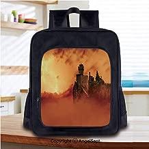 Lightweight Backpack Fantastic Ancient Castle over the CliffsLightning Storm Fo
