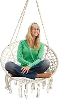 Hanging Hammock Chair Macrame Swing White for Indoor Bedroom Outdoor Patio Porch Deck Garden Yard Reading Leisure Lounging-Max Capacity 265 Lbs