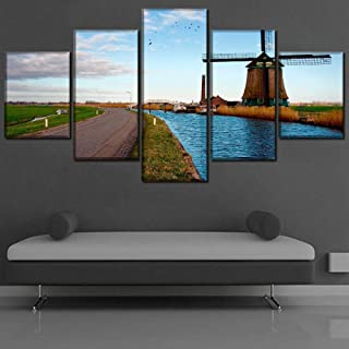 NYJNN 5 Canvas Painting 5 Pieces Road And River Poster Landscape Sky Canvas HD Printed Poster For Painting on Canvas