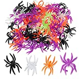 100 Pieces Halloween Spider Rings Plastic Ring Multicolor Accessory for Halloween Party Favors Decor, Orange, Purple, Black and Glow