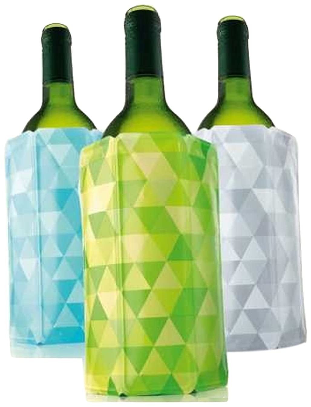 Vacu Vin Rapid Ice Wine Cooler - Set of 3 - Diamond Green, Blue, and Gray