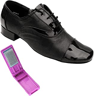 Very Fine Mens Salsa Ballroom Tango Latin Dance Shoes Style PP301 Bundle with Dance Shoe Wire Brush Black Leather 13 M US Heel 1 Inch