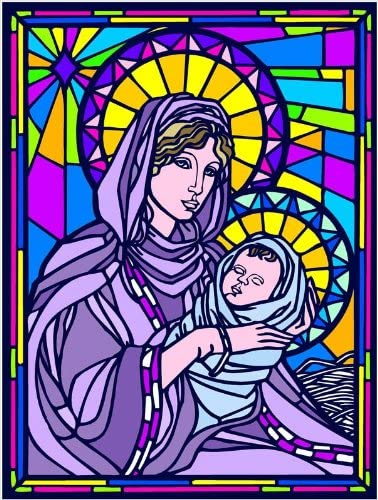 Amazon Com Virgin Mary Baby Jesus Madonna Child Etched Vinyl Stained Glass Film Static Cling Window Decal Home Kitchen