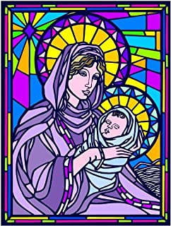 Virgin Mary & Baby Jesus, Madonna & Child-Etched Vinyl Stained Glass Film, Static Cling Window Decal