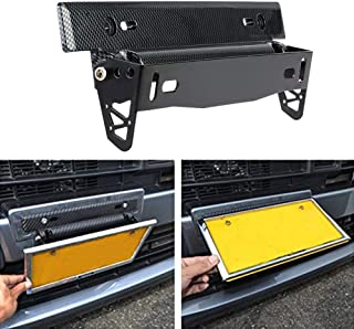 KKmoon License Plate Frame Holder Universal Carbon Fiber Car License Plate Frame Holder Racing Style Angle Adjustable Relocate Bracket