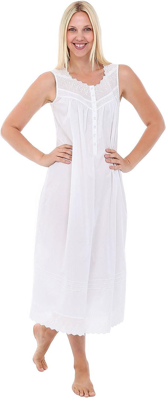 Alexander Del Rossa Womens Diana Cotton Nightgown, Sleeveless Victorian Sleepwear