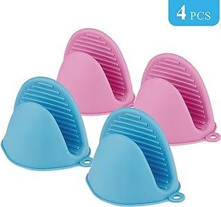 Comius Sharp Mini Guantes de Silicona para Horno, 4 Piezas Multifuncionales Horno Guantes Accesorios, Resistentes al Calor Clip de Mano Antideslizante (Blue + Pink)