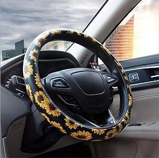 Carmen Sunflower Steering Wheel Cover Microfiber Leather Universal 15 Inch Floral Design Car Accessories Women Girls Best Gift