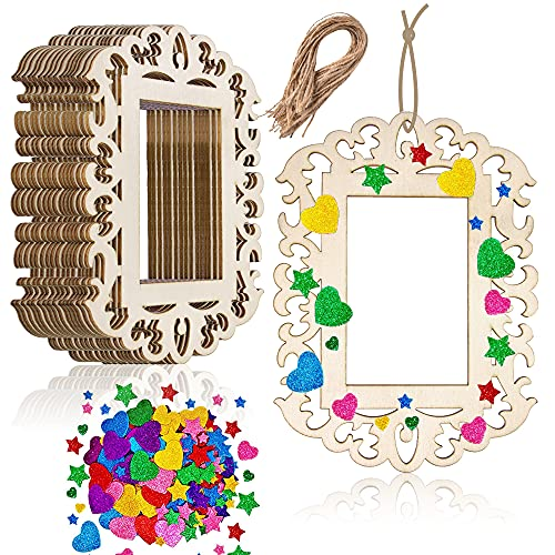 18 Pieces Unfinished Wooden Picture Frames for Crafts, Aweyka 6.3 x 4.7 Inch Unfinished Wood Photo Frame Cutout with String and EVA Stickers for Christmas Tree Hanging Decoration DIY Painting Display