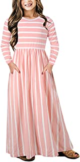 Girl's Short Sleeve Floral Print Loose Casual Holiday Long Maxi Dress with Pockets 4-12 Years