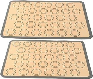 2 Pièces Tapis de Cuisson Silicone, Moulle Macaron Silicone Anti-Adhérent Toile Feuille de Cuisson Patisserie, 42x29,5cm