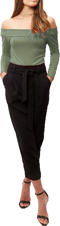 Re Tech UK Womens Ladies Off Shoulder Long Sleeve Bardot Bodysuit Leotard Top Plain Stretch