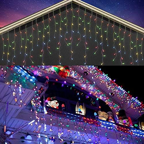 FUNPENY Icicle Lights, Valentine Lights 360 LED 29.5 FT Icicle Snow Falling Christmas Lights with 8 Modes, Outdoor Raindrop Lights for Xmas Wedding Party Tree Holiday Decoration, Multicolor