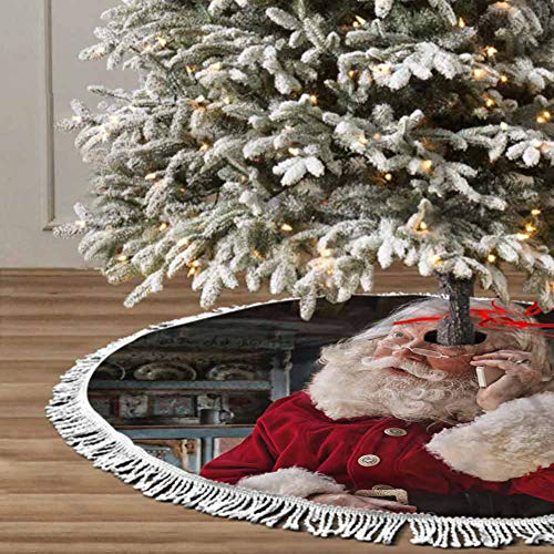 Christmas Tree Skirt, 48 inches Christmas Decoration Fringed Lace (Grandfather Winter) for Xmas Holiday Party Decorations