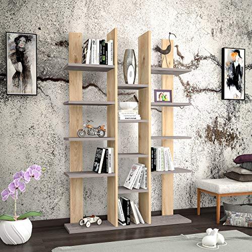 Homemania Libreria Misu, Legno, Rovere-Grigio Scuro, 98,6x22x150 cm
