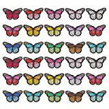 falllea 30 Piezas de Mariposa Parches Bordados Mariposa Colorida Apliques DIY Bordado Ropa Parches de Mariposa para Ropa Coser Parches Decorativos