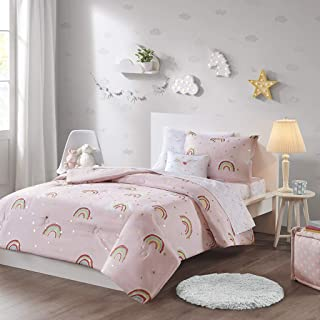Mizone Kids Alicia Rainbow with Metallic Printed Stars Complete Bed and Sheet Set Pink Twin