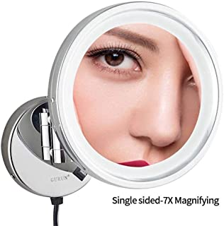 """Makeup Mirror,LED Wall Mounted Mirrors,8.5"""" Single Sided Brass Lighted Magnification Makeup Shaving Extendable with Switch Electrical Plug (Size : 7X)"""