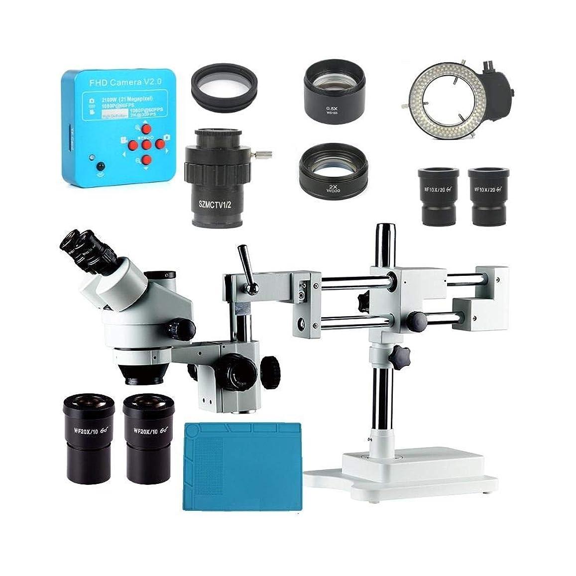 照らす雇う統計工業用PCB修理3.5X 7X 45X 90Xダブル用三眼ステレオ顕微鏡 鮮明なミクロな世界へ (色 : Black, Size : One size)