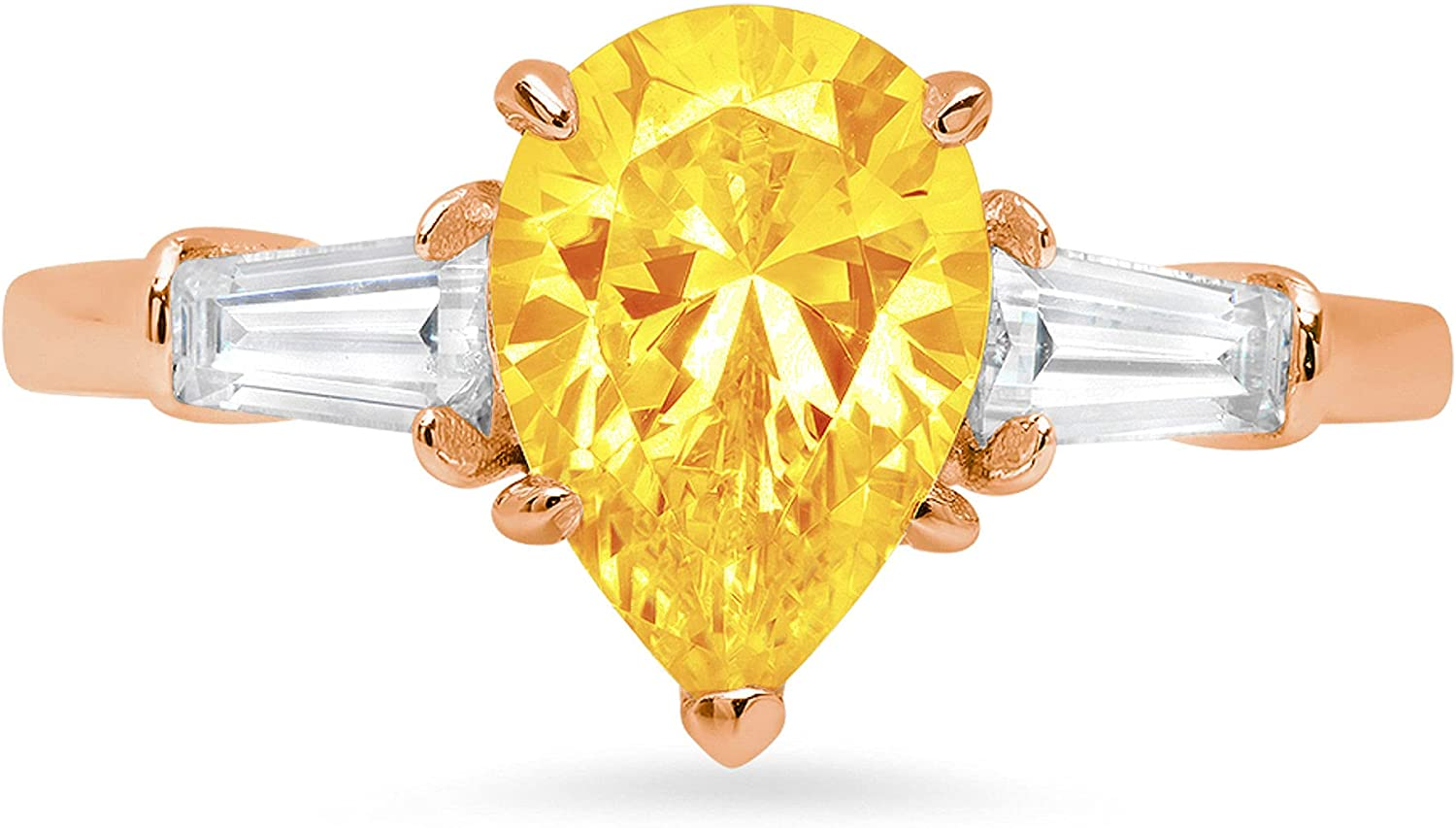 2.44ct Pear Baguette cut 3 stone Solitaire with Accent Natural Yellow Citrine Gemstone Ideal VVS1 Engagement Promise Statement Anniversary Bridal Wedding ring 14k Pink Rose Gold
